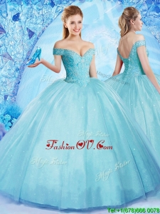 2017 Popular Really Puffy Off the Shoulder Quinceanera Dress with Beading