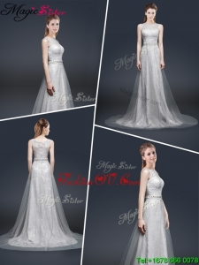 Elegant Empire Bateau Prom Dresses with Brush Train