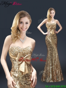 Fall Column Sequins Prom Dresses with Bowknot in Gold