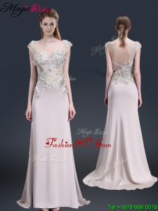 Luxurious Brush Train Cap Sleeves Prom Dresses with Appliques