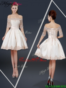 New Arrivals Off the Shoulder Appliques Champagne Short Prom Dresses