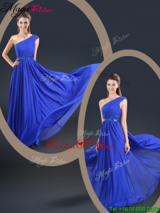 Cheap 2016 One Shoulder Blue Prom Dresses with Belt