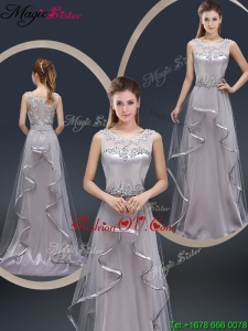 Exquisite Brush Train Scoop Prom Dresses with Appliques