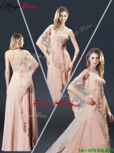 Luxurious One Shoulder Appliques Prom Dresses in Peach