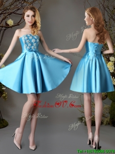2017 Hot Sale Strapless Appliques and Bowknot Short Dama Dress in Baby Blue