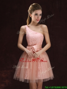 2017 Modest A Line One Shoulder Laced Short Dama Dress in Pink
