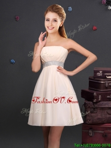 2017 Modest Empire Strapless Ruched and Sequined Chiffon Dama Dress