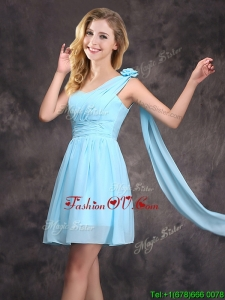 2017 Top Seller Baby Blue Dama Dress with Handcrafted Flower and Ruching