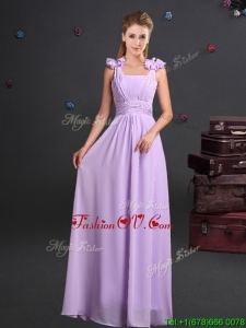 2017 Wonderful Straps Handcrafted Flowers Chiffon Dama Dress in Lavender
