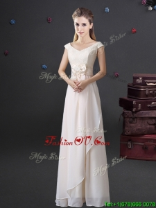 2017 Hot Sale Bowknot and Laced Long Dama Dress with Cap Sleeves