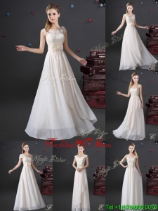 Latest Laced White Chiffon Dama Dress in Floor Length