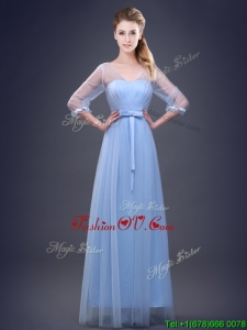 Vintage Empire Half Sleeves Light Blue Dama Dress in Tulle