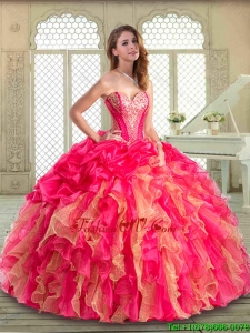 2016 Gorgeous Sweetheart Quinceanera Dresses with Ruffles and Pick Ups