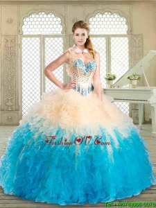 2016 Lovely Floor Length Quinceanera Dresses with Beading and Ruffles