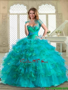 2016 Luxurious Floor Length Quinceanera Dresses with Beading and Ruffled Layers