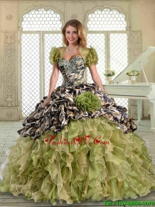 2016 New Arrivals Ruffles Camo Quinceanera Dresses with Pick Ups