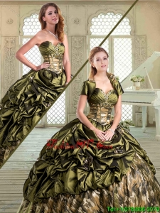 2016 New Style Sweetheart Camo Quinceanera Dresses with Pick Ups