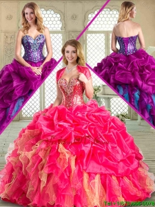 2016 Popular Sweetheart Quinceanera Gowns with Pick Ups and Ruffles