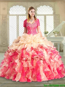 2016 Popular Sweetheart Quinceanera Gowns with Ruffles and Pick Ups