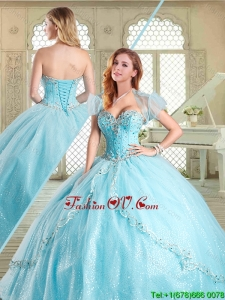 2016 The Super Hot Beading Quinceanera Gowns in Aqua Blue