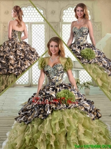 2016 Fashionable Camo Pretty Quinceanera Dresses with Pick Ups and Ruffles for Winter