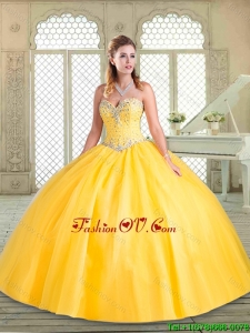 2016 Lovely Sweetheart Beading Pretty Quinceanera Dresses for Spring