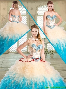 2016 Luxurious Sweetheart Pretty Quinceanera Dresses with Beading and Ruffles for Summer