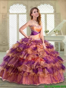 2016 New Arrivals Floor Length Pretty Quinceanera Gowns with Beading and Ruffled Layers
