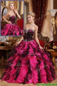 2016 Classical Beading and Ruffles Quinceanera Gowns in Black and Red