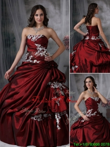 2016 Elegant Ball Gown Strapless Appliques Quinceanera Dresses