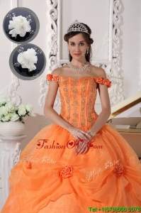 2016 Fashionable Off The Shoulder Quinceanera Dresses in Orange
