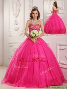 2016 Hot Sale Hot Pink A Line Sweetheart Floor Length Quinceanera Dresses