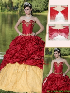 2016 Latest Appliques and Pick Ups Quinceanera Gowns with Brush Train