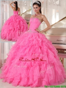 2016 Popular Hot Pink Ball Gown Strapless Quinceanera Dresses