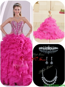 Fall Cheap Ruffles and Beading Fuchsia Quinceanera Gowns