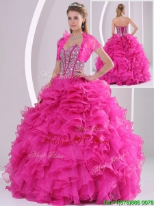 Fall Perfect Ruffles and Beading Fuchsia Sweet 16 Dresses