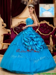 Spring Elegant Strapless Appliques and Beading Quinceanera Gowns