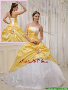 Summer Best Selling Yellow Ball Gown Strapless Quinceanera Dresses