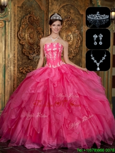 Winter New Arrivals Strapless Sweet 16 Dresses with Appliques and Ruffles