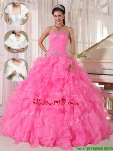 2016 Cheap Ball Gown Strapless Quinceanera Dresses in Hot Pink