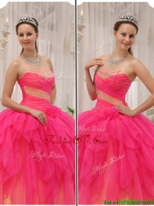 2016 Classic Beading Strapless Quinceanera Gowns in Hot Pink