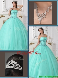 2016 Classic Beading Sweetheart Quinceanera Gowns in Green
