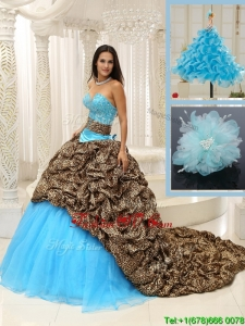 2016 Classic Brush Train Quinceanera Dresses in Multi Color