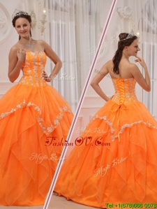 Classic Appliques and Beading Sweet 15 Dresses in Orange