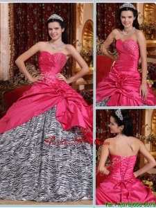Fall Elegant Ball Gown Hot Pink Quinceanera Gowns with Beading