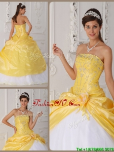 Summer Classic Appliques Quinceanera Gowns with Hand Made Flower