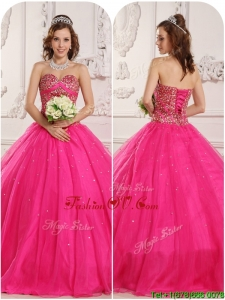 2016 Modern A Line Beading Quinceanera Gowns in Hot Pink
