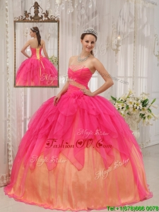 Classical Hot Pink Strapless Quinceanera Gowns with Beading