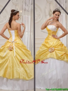 Custom Made 2016 Yellow Strapless Quinceanera Gowns with Beading