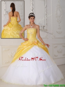 Custom Made Ball Gown Appliques and Hand Made Flower Quinceanera Dresses
